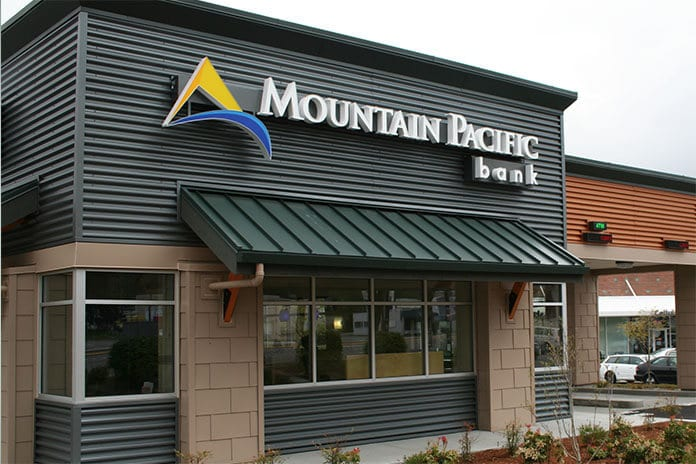The Mountain Pacific Bank exterior of a branch.