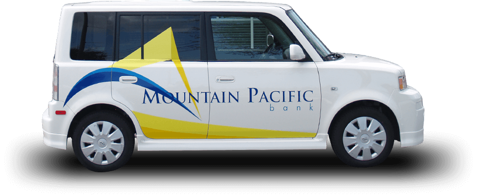 The Mountain Pacific Bank mobile banking car.