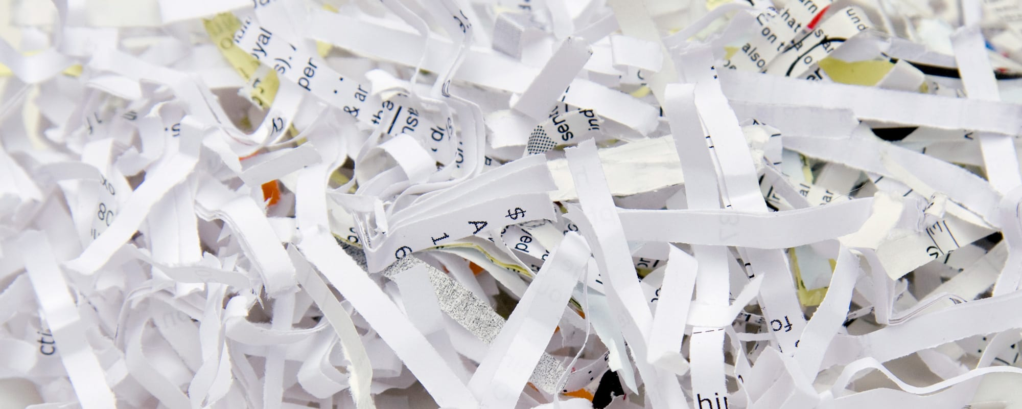 Paper is shredded to show the up coming shred day