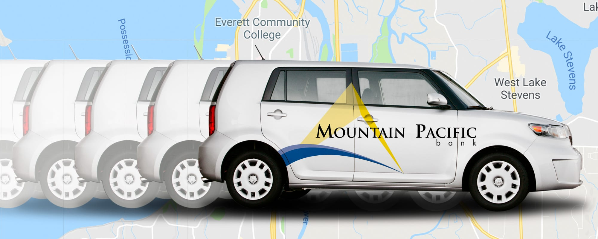 mountain pacific bank mobile branch car with map of being it